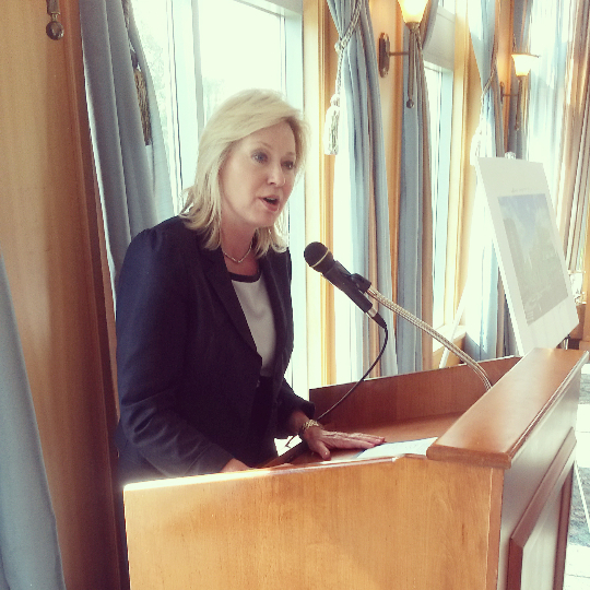 Mississauga Mayor Bonnie Crombie announces redevelopment plans at the corner of Lakeshore Rd. E. and Stavebank Rd. S. on Sept. 24, 2015. (Photo: Kelly Roche/QEW South Post/file)