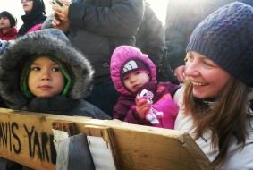 Josh, 3, and Emma, 1, look for Santa as mom, Melissa, looks on. Photo: Kelly Roche/QEW South Post