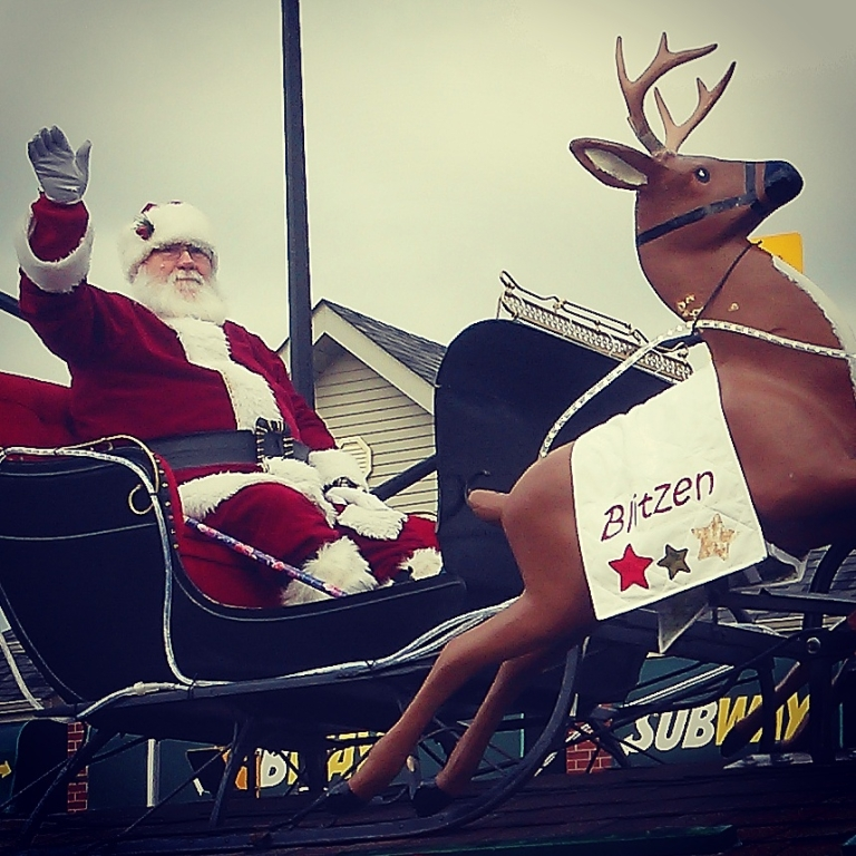 Children were squealing at the sight of Santa Claus in Streetsville. Photo: Kelly Roche/QEW South Post