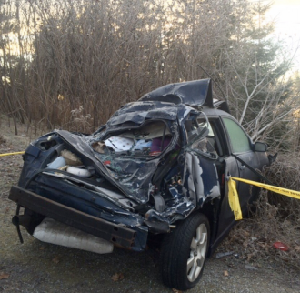 A parked car was struck Nov. 29, 2015 in Brampton. A 23-year-old Mississauga man has been charged. Photo: Peel Regional Police
