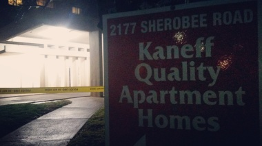 A boy was killed at 2177 Sherobee Rd. and a woman is in custody on Dec. 14, 2015. (Photo: Kelly Roche/QEW South Post)