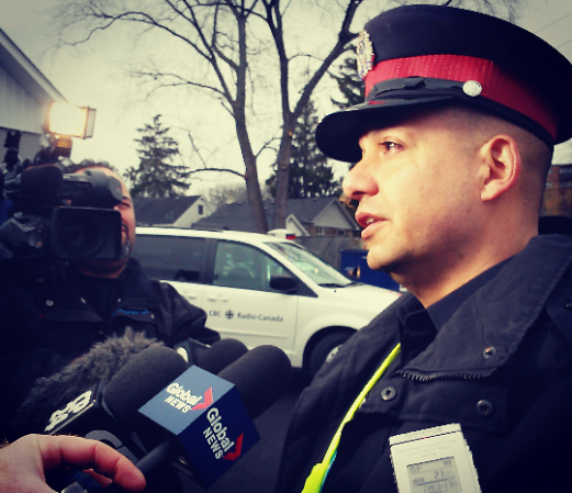 Peel Regional Police George Tudos addresses media after an 18-year-old man was stabbed at Lakeshore Rd. E. and Seneca Ave. in Port Credit on Thursday, Dec. 31, 2015. (Photo: Kelly Roche/QEW South Post)