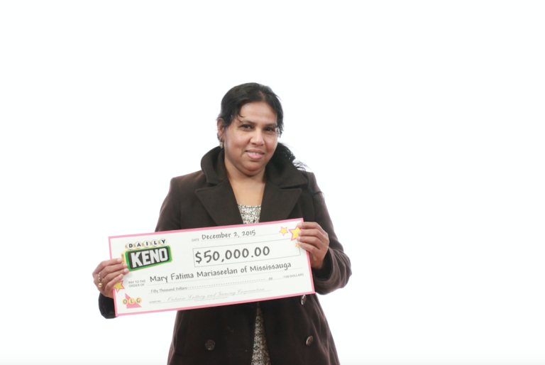 Mary Fatima Mariaseelan of Mississauga won $50,000 in the Nov. 30, 2015 Daily Keno draw. (Photo: OLG)