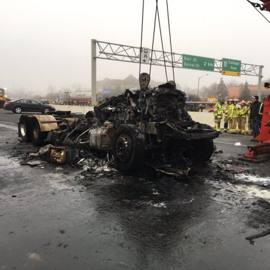 Two people were killed in a fiery crash on the eastbound QEW at Trafalgar on Tuesday, Dec. 22, 2015. (Photo: OPP)
