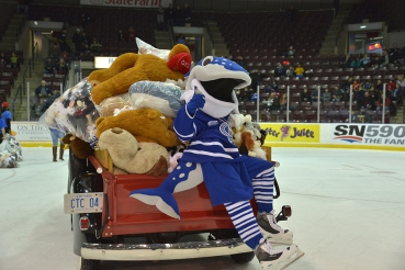 The annual Teddy Bear Toss took place at the Hershey Centre Sunday. After the Steelheads' first goal, all bears tossed onto the ice were donated to the Boys and Girls Club of Peel Region. (Photo: Mississauga Steelheads)