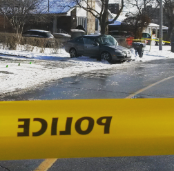Four teens were in this Volkswagen Jetta which hit a tree - sending the driver to the trauma unit - on Queen Frederica Dr. at Westerdam Rd. on Wednesday, Jan. 13, 2016. (Photo: Kelly Roche/QEW South Post)