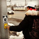 Pedestrians can cross safely. A traffic light seen here on Friday, Jan. 15, 2016, has been installed at the corner of Lakeshore Rd. and Hampton Cr. (Photo: Kelly Roche/QEW South Post)
