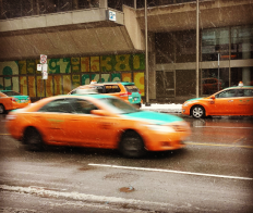 Taxis crammed Front St. in downtown Toronto on Tuesday, Jan. 12, 2016. (Photo: Monique Anglin/QEW South Post)