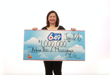 Arlene Asis of Mississauga won $1 million from the Dec. 30 Lotto 649 draw. (Photo: OLG)