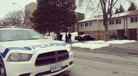 A man in his late teens was stabbed during a home invasion on Kirkwall Cres. near Dixie Rd. and Bloor St. Friday, Feb. 19, 2016. (Photo: Kelly Roche/QEW South Post)