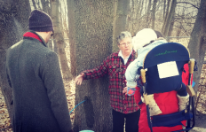 Museum guide Eileen Walker explains how the tapping process works as Maple Magic returned to the Bradley Museum on Sunday, Feb. 28, 2016. (Photo: Kelly Roche/QEW South Post)