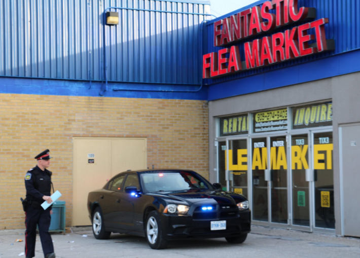 A Fantastic Flea Market vendor was stabbed at Dixie Mall on Sunday, Feb. 21, 2016 and is in the trauma unit. A suspect was arrested nearby by the Peel Police tactical unit. (Photo: Peel Regional Police)