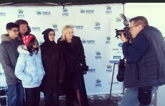 Asaad Shaikh, 14; Ward 5 Coun. Carolyn Parrish; Uniba Shaikh, 11; Samina Khalid; and Mayor Bonnie Crombie pose for a photo on Friday, Mar. 4, 2016 at 5032 Mariner Ct. (Photo: Kelly Roche/QEW South Post)