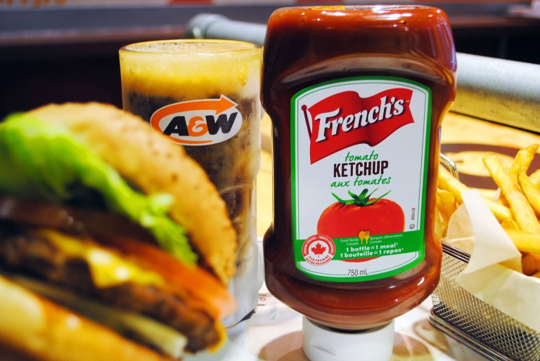 A&W will be the first national restaurant to serve French''s tomato ketchup and classic yellow mustard in all of its restaurants across Canada. A&W's ketchup will be made with locally-sourced tomatoes from Leamington and will be produced and packaged in Ontario. (CNW Group/A&W Food Services of Canada Inc.)