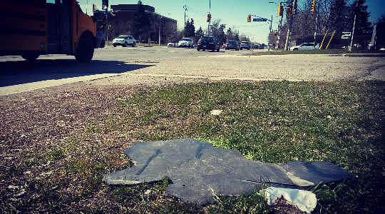 Trash litters Southdown Rd. in south Mississauga. An Earth Day cleanup is taking place Saturday, Apr. 23, 2016. (Photo: Kelly Roche/QEW South Post)