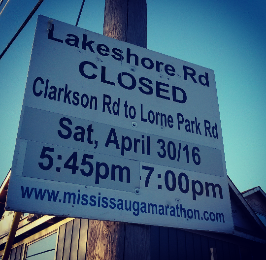 Road closures, including along Clarkson Rd. N., are taking place Saturday, Apr. 30 to Sunday, May 1, 2016 during the Mississauga Marathon. (Photo: Kelly Roche/QEW South Post)