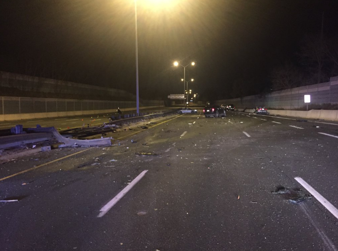 A serious crash closed the QEW on Friday, Apr. 29, 2016. A man is in hospital with life-threatening injuries. (Photo: Ontario Provincial Police)
