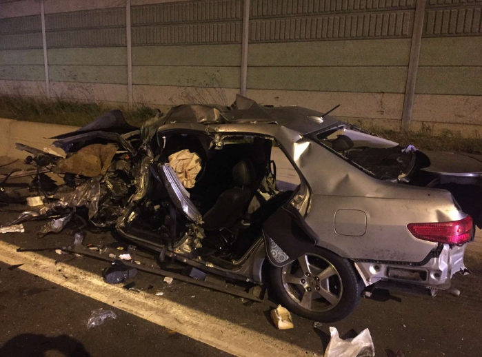 A serious crash closed the QEW on Friday, Apr. 29, 2016, sending a man to hospital with life-threatening injuries. (Photo: Ontario Provincial Police)