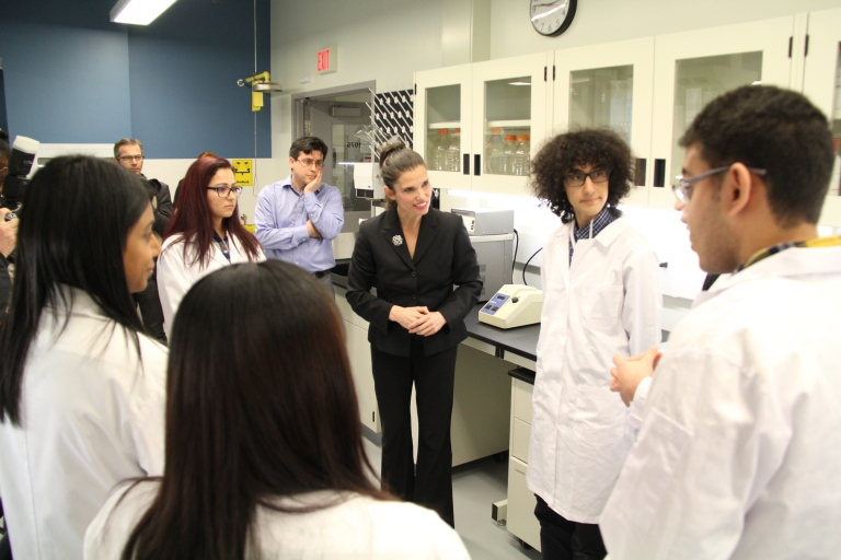 The Honourable Kirsty Duncan, Minister of Science, announced $5.2 million in funding for 19 projects at the University of Toronto Mississauga on Friday, Apr. 15, 2016. (Photo: UTM)