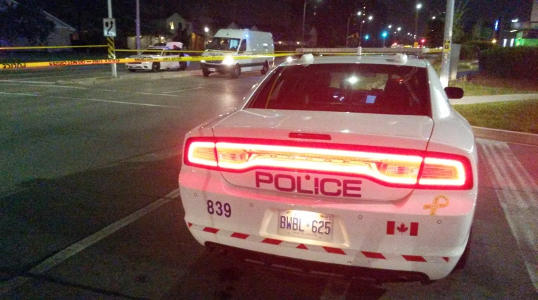 Peel Police officers were on scene after a cyclist, 12, was struck by a MiWay bus at Aquitaine Ave. and Formentera Ave., near Meadowvale Town Centre, on Thursday, May 26, 2016. (Photo: Kelly Roche/QEW South Post)