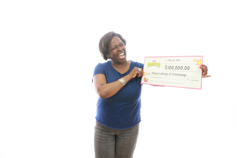 Myrna Laberge of Mississauga is all smiles after scoring a $100,000 lottery win. (Photo: OLG)