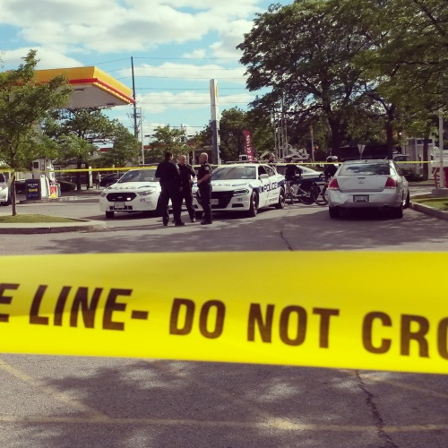 Peel Police are investigating after a woman was struck at the Shell gas station on Erin Mills Pkwy. at Fowler Dr. on Wednesday, June 8, 2016. (Photo: Kelly Roche/QEW South Post)