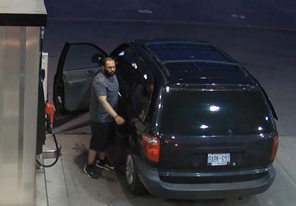 A suspect is caught on tape in relation to a theft of gas from two Petro Canada stations in the west GTA. (Photo: Halton Police handout)