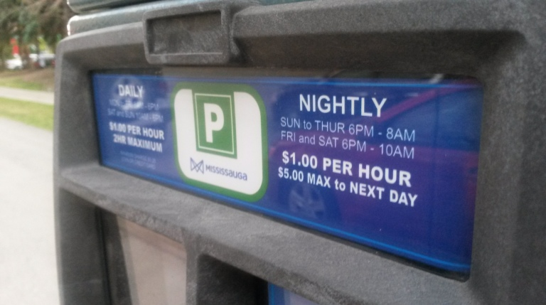 'Parking vehicle in parking space governed by a parking machine without clearly displaying receipt' was a common infraction in Mississauga in 2015 and 2014. (Photo: Kelly Roche/QEW South Post)
