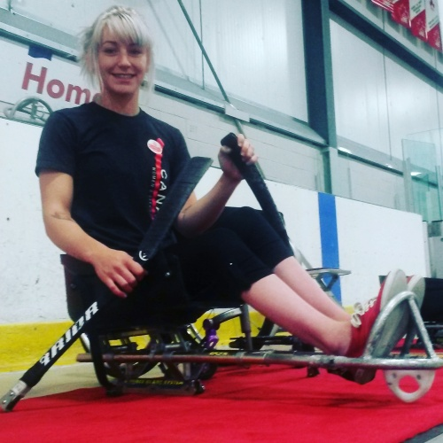 Mississauga's Danica McPhee is playing sledge hockey during the Ontario Summer Games. Various events are being held across Mississauga Aug. 11-14. (Photo: Kelly Roche/QEW South Post)
