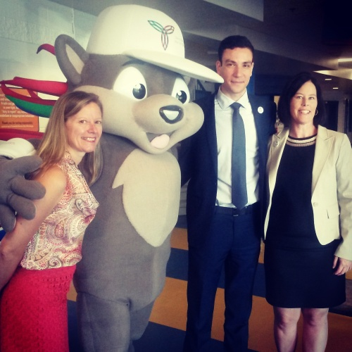 Ward 3 Coun. Chris Fonseca, Ward 4 Coun. John Kovac, Pachi the Porcupine, and City of Mississauga recreation director Shari Lichterman kick off a media preview of the Ontario Summer Games at the Hershey Centre on Wednesday, Aug. 3, 2016. (Photo: Kelly Roche/QEW South Post)