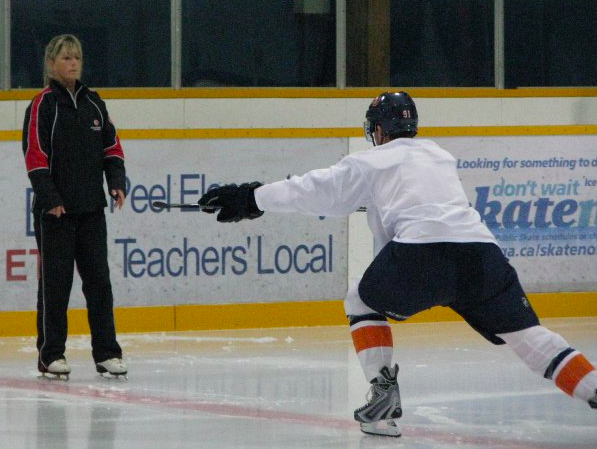 "Skating coach Dawn Braid works with a player from the Athlete Training Centre in this undated photo. Braid spent seven years with the Mississauga facility. ""Dawn is someone who we feel is at the top of her field so we thought it was imperative to hire her,"" said Arizona Coyotes general manager John Chayka in a statement. (Photo: The Athlete Training Centre)"