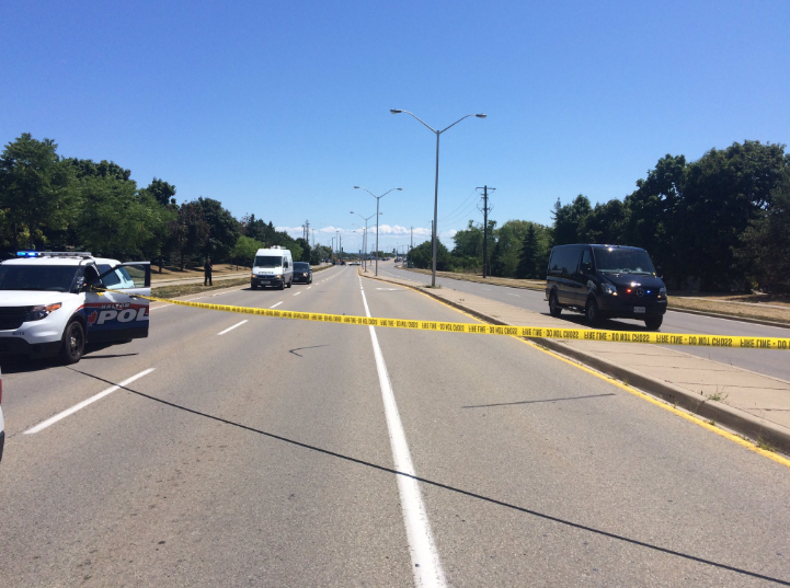 A four-vehicle crash killed a man and sent a woman to hospital on Monday, Aug. 8, 2016. (Photo: Halton Police)