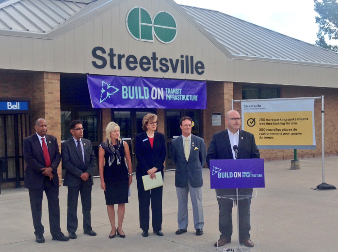 Minister of Transportation Steven Del Duca announces more train service and parking for Mississauga GO train users on Thursday, Aug. 18, 2016.  (Photo: Twitter)