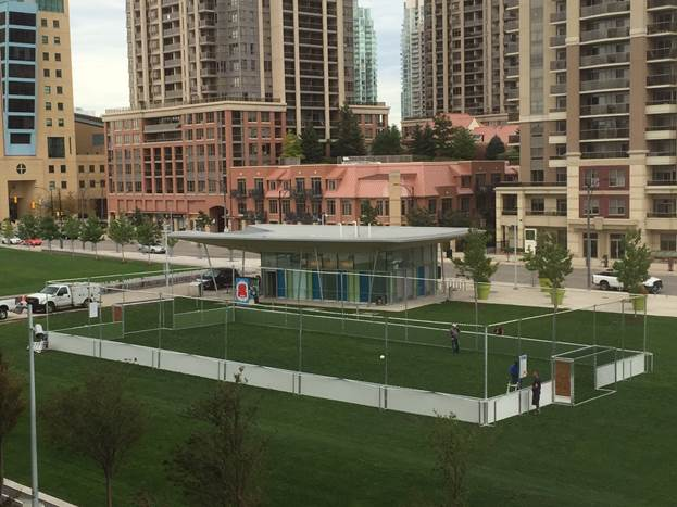 A soccer pitch has been set up near Square One as part of a pilot project in Mississauga. (Photo: City of Mississauga)