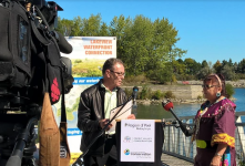 Ward 1 Coun. Jim Tovey and Valerie King of the Mississaugas of the New Credit First Nation speak during a celebration for the Lakeview Waterfront Connection on Sept. 24, 2016. The naturalized conservation area will take an estimated seven to 10 years to complete. (Photo: Irene Owchar/QEW South Post)