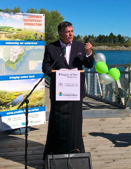 Mississauga South MPP Charles Sousa, who grew up in Lakeview, speaks at the ground making of the Lakeview Waterfront Connection on Saturday, Sept. 24, 2016. The 64-acre green oasis will restore wetlands to the area where a power plant once stood. (Photo: Irene Owchar/QEW South Post)