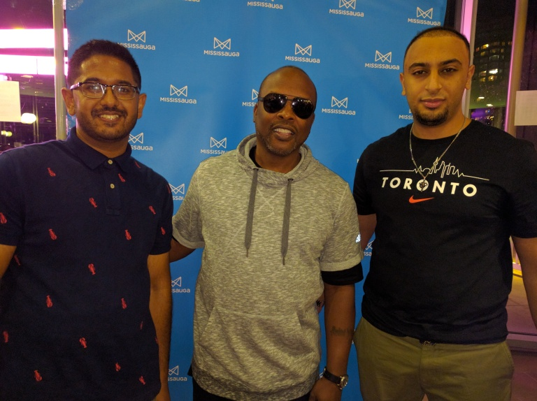 Samuel Chacko (left) and Samy Beshay (right) of Streetsville meet DJ Jazzy Jeff at SoundBites on Saturday, Sept. 3, 2016. (Photo: Submitted)