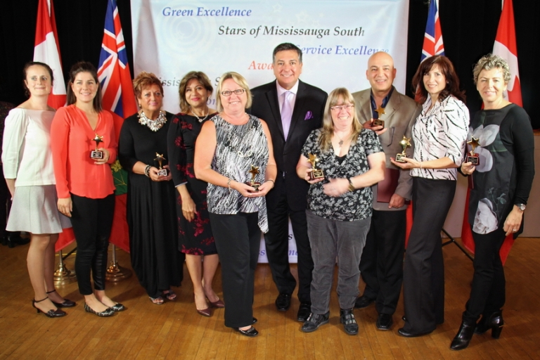 2016 Star of Mississauga South winners pose with Mississauga South MPP Charles Sousa at Clarke Hall on Wednesday, Oct. 12, 2016. (Photo: Gabriella Bank)