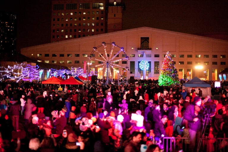Large crowds turned out for the 2015 tree at Mississauga's Celebration Square. This year's event runs Saturday, Nov. 19, 2016. (Photo: City of Mississauga)