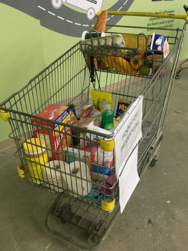 An $11 donation provides food bank clients with items such as the ones in this grocery cart. (Photo: The Mississauga Food Bank)